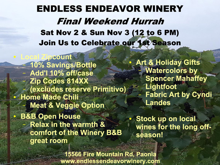 Endless Endeavor Winery End of Season Sale – Nov 2-3